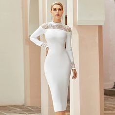 Lace Sexy Hollow Out Evening Runway Bodycon Bandage Dress White Lace Bodycon Dress, White Cocktail Dress, Cocktail Dresses, Sexy, Classy Dress, Manga, White Long Sleeve, Ideias Fashion, Party Dresses