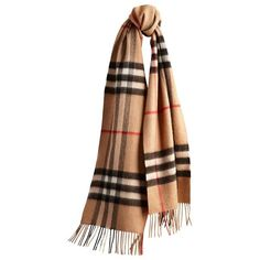 Burberry Heritage Check Cashmere Scarf ($395) ❤ liked on Polyvore featuring accessories, scarves, oblong scarves, long shawl, burberry scarves, cashmere scarves and fringed shawls