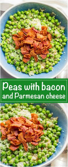 Peas with bacon, shallots and Parmesan cheese is a quick and easy side dish and super flavorful way to dress up a bag of frozen peas! | www.familyfoodonthetable.com