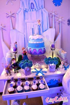 "Frozen Party - dessert ""desk"" or table from tag sale furniture."