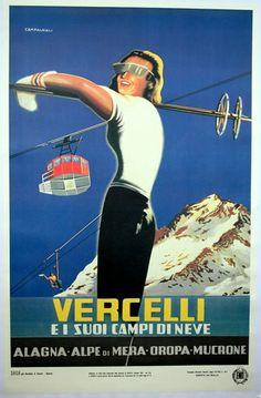 vintage ski poster - Alagna