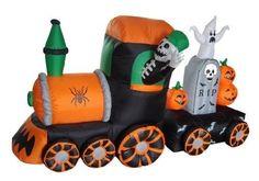 Outdoor Halloween Decoration Yard Decor Lighted Inflatable Skeleton Train…