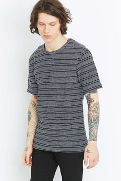 Shore Leave by Urban Outfitters Navy and White Dobby Stripe Shirt