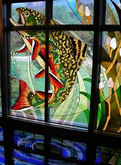 stained glass brook trout, Orvis fly shop. View from inside store ...