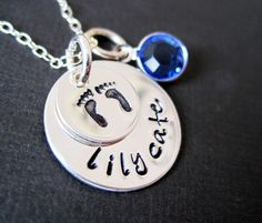 Hand Stamped Mommy Jewelry - Welcome Home New Baby Necklace by Hannah Design by byHannahDesign on Etsy https://www.etsy.com/listing/69631291/hand-stamped-mommy-jewelry-welcome-home