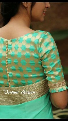 Royal Look With Brocade Blouse Design – The Handmade Crafts - blouse designs Kurta Designs, Brocade Blouse Designs, Stylish Blouse Design, Blouse Back Neck Designs, Fancy Blouse Designs, Design Of Blouse, Latest Saree Blouse Designs, Indian Blouse Designs, Designer Saree Blouses