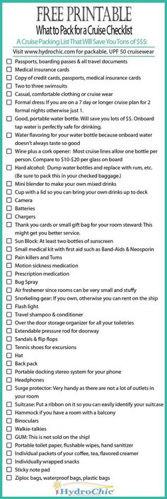 Printable checklist of what to pack for a cruise that will save you