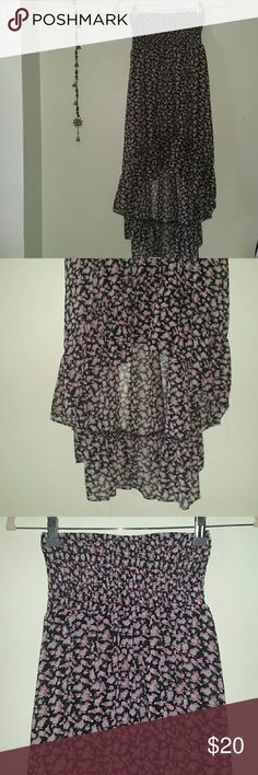 Nwot flowy floral bohochic hi/low strapless maxi High low maxi dress with strapless elastic top and sheer flowly loose fit elsewhere. Never worn. New without tags. Bundle and save! Selling everything I own to prep for relocating to new area. Kirra Dresses Maxi