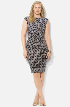 Lauren Ralph Lauren Cap Sleeve Matte Jersey Sheath Dress (Plus) (the model is plus size????? yeah...)