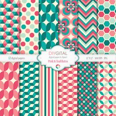 Pink and Teal Retro- Retro geometric digital papers with pink and teal backgrounds for scrapbooking, graphics, cards- 70s style patterns