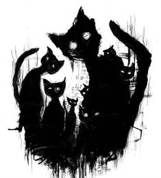 Halloween black cat art … Halloween chat noir art Plus Tattoo Gato, Desenho Tattoo, Cat Tattoo, Halloween Chat Noir, Halloween Art, Halloween Drawings, Happy Halloween, Arte Horror, Horror Art