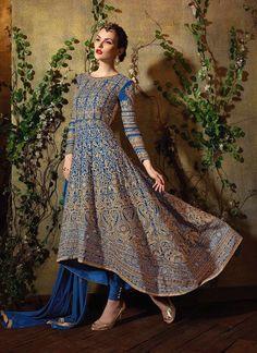 Bedazzling Blue Georgette Designer Suit