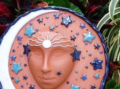 Goddess Ceramic Celestial Face Planter For The by MyMothersGarden,