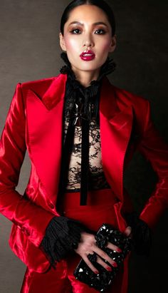 Fierce Red Jacket and Skirt paired with black lace blouse by Tom #Ford #couture #fashion runway