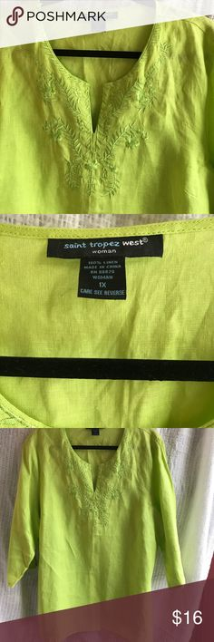 Swim cover up Like new, swim cover up. Beautiful, 100% linen,  bright lime green color.30 inches long, size 1x woman Saint Tropez West Swim Coverups