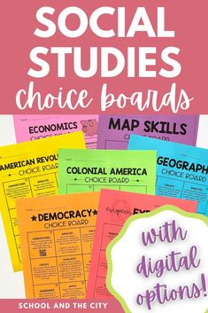 Choice boards are full of engaging, no-prep, rigorous social studies activities to challenge your 3rd, 4th, or 5th grade students or to use for early finishers. Social studies choice board topics include: American Indians, American Revolution, Civil War, Colonial America, Democracy / Branches of Government, Economics, European Explorers, Influential People, Map Skills, and US Geography. The bundle includes a digital bonus perfect for distance learning. #socialstudies #choiceboards
