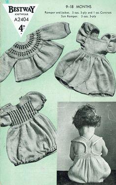Items similar to PDF Vintage Baby Girl Play Suits Knitting Pattern Bestway Matinee Sun Suit onesie Romper Heirloom War Time Ephemera RARE on Etsy Knit Baby Dress, Vintage Baby Clothes, Baby Knitting Patterns, Crochet Patterns, Vintage Knitting, Cute Crochet, Babys, Cute Babies, 1940s