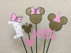 Minnie Mouse rosa y oro cumpleaños centro de por TheGirlNXTdoor