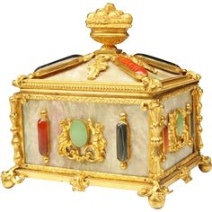 "Antique French  Jeweled  Casket Hinged Box "" Awesome Gems of Goldstone, Jadeite, Carnelian & Agate"""