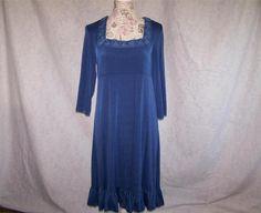 SLINKY BRAND Dress M Blue Travel Knit Stretch Rosette 3/4 Sleeves Ruffled Hem #SlinkyBrand #Shift #Casual