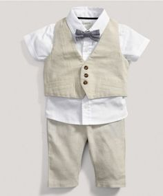 Boys Welcome to the World Four piece Shirt, Trousers, Bow Tie and Waistcoat Set