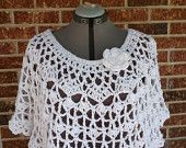 Plus Size Lacy Crochet Capelet Circle Poncho Cover by more2adore