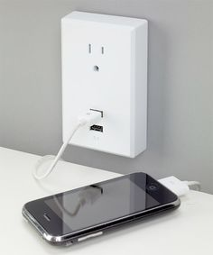 Charging up your USB devices usually means flipping open the laptop to power 'em up but with this grounded, wall-mounted plug-in plate you can just jam your cord into the outlet and not get caught back up in Facebook. Plugs in anywhere and has two USB ports plus a regular 3-prong outlet