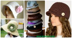 A Collection of crochet adult brimmed Sun hat, ladies Summer hat, Flower Hat, Floppy hat, Cloche Hat