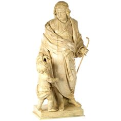 Italian Sculpture of Christ as the Good Shepherd | From a unique collection of antique and modern sculptures at https://www.1stdibs.com/furniture/decorative-objects/sculptures/