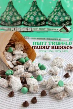 Mint Truffle Muddy Buddies - Too easy not to make! | DessertNowDinnerLater.com #mint #chocolate #Christmas