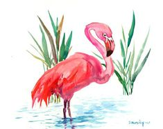 Flamingo artwork one of a kind painting pink flamingos, original watercolor painting, flamingo wall art, flamingo decor by ORIGINALONLY on Etsy Flamingo Decor, Pink Flamingos, Watercolor Bird, Watercolor Paintings, Watercolors, Photo Art, Original Artwork, Doodles, Sketches