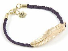 Fioletowa bransoletka - złote piórko