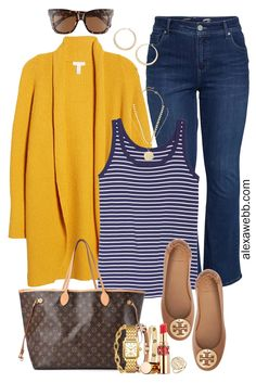 Plus Size Yellow Cardigan Outfit with navy stripe tank, bootcut jeans, Louis Vuitton Neverfull tote, and Tory Burch flats. Plus Size Fashion for Women. Alexa Webb Outfits curvy Plus Size Yellow Cardigan Outfit - Alexa Webb Yellow Cardigan Outfits, Navy Dress Outfits, Dress With Cardigan, Casual Outfits, Cute Outfits, Fashion Outfits, Womens Fashion, Lace Cardigan, Fashion Hacks