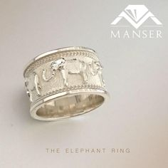 CAD designed and cast silver elephant ring. Elephant Ring, Silver Rings, Jewelry Making, Wedding Rings, Engagement Rings, Jewels, Bracelets, Design, Enagement Rings