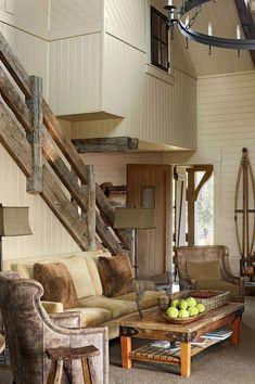47 Stair Railing Ideas Stuff To Make Rustic Stairs Interior Stair Railing, Wood Railing, Railing Design, Staircase Design, Railing Ideas, Interior Windows, Farmhouse Style Furniture, Rustic Furniture, Modern Farmhouse