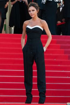 Victoria Beckham in a monochrome outfit of her own design.