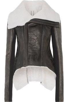 Rick Owens - Leather-trimmed Shearling Biker Jacket - Black - IT48