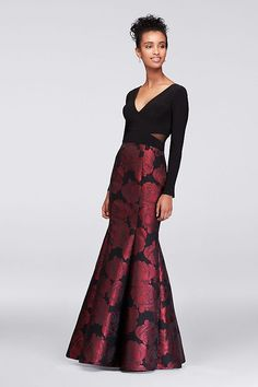 Red roses bloom on the flared brocade skirt of this jersey-bodice mermaid gown. A plunging V-neck and back and mesh cutouts at the sides add sleek touches.  By Xscape  Polyester, spandex  Back zipper;
