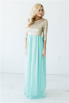 The Elsa with Gold Sequins and Mint Skirt. We love the longer sleeves!