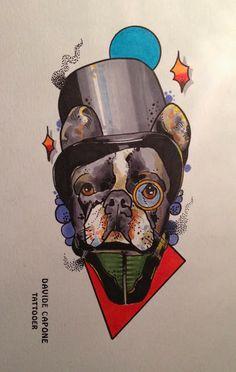 Done by Davide Capone Tattoos #illustration #art #tattoo #neotraditional #dog #tattooartist #tattooer