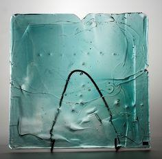 Lubomir Blecha, the glass relief, 1969, glassworks Borske Sklo, Novy Bor (Haida), M: 40,0 x 39,5 cm, Czechoslovakia