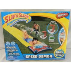 "Wham-o Speed Demon Slip 'N Slide with Motion Active Speedometer by Wham-O. $15.90. Requires 3-AA Batteries- not included. For Kids Ages 5-12. Easy set-up, connect, and go. Motion activated speedometer measures your speed -'How fast can you go""?. Includes 16 ft water slide, speedometer & tower, 2 slide anchors, 2 repair patches. The Original Backyard Water Slide features: How Fast Can You go? Built-in Speed-O-Meter Measures Your Speed, Single Lane Water Slide, Hydro Glide Techn..."