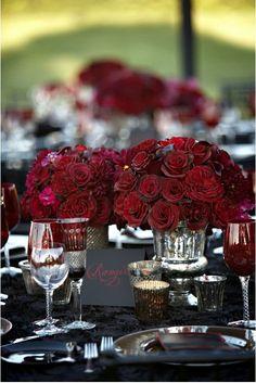 Mercury Glass - Red Roses