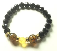 Dragons Vein Agate Citrine and Faceted Black by CatchyTreasures