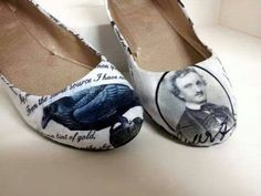 Edgar Allan Poe Shoes by Kylee Found on The Fabulous Weird Trotters Facebook