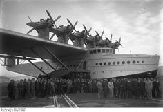 "Dornier Do X ... called ""the flying ship,"" it was the largest, most powerful, and heaviest (at 53 metric tons) flying boat in the world when constructed in Germany in 1929. With a max speed of 105 mph it was powered by twelve 524 hp Bristol Jupiter radial engines (six tractor propellers and six pushers), mounted in six tower nacelles on the wing.  Destroyed during an RAF bombing raid in WWII, the tail section is on display in a museum in Germany."