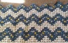 Crocheted Granny Ripple Baby Afghan in Blues and White