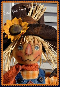 Sid is a 15 Happy primitive Make Do Scarecrow. I show him in an old antique flour sifter, but you can put his stump body into anything youd Primitive Scarecrows, Fall Scarecrows, Primitive Fall, Primitive Crafts, Primitive Christmas, Country Christmas, Christmas Christmas, Scarecrow Face, Scarecrow Crafts