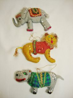 3 vintage christmas ornaments felt and sequins by PeppermintPixies, $9.99