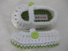 crochet baby shower newborn baby gift shoes booties.  A bit of Lovely on Etsy